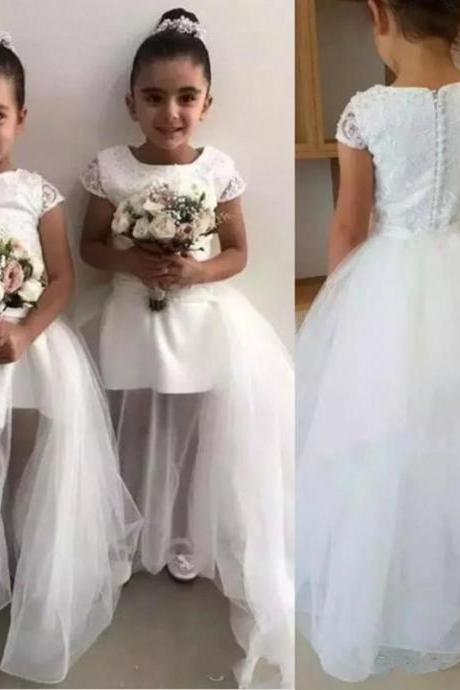 Lovely Toddler Children Flower Girls Dresses Pure White A Line Crew Neck Short Sleeve Applique Long Formal Kids First Communion Gowns