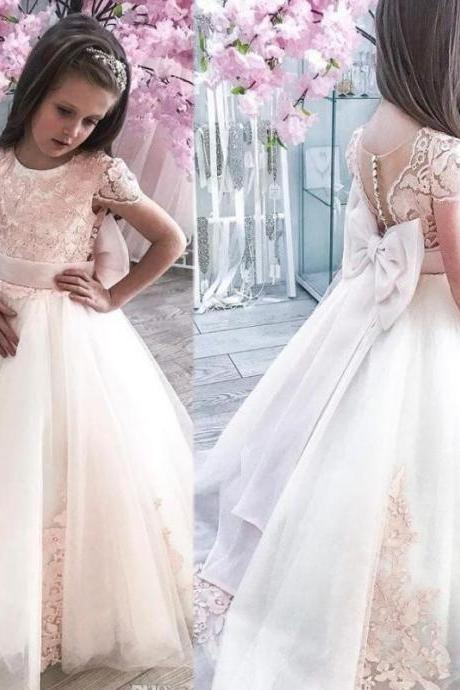 Lace Cheap 2019 African Flower Girl Dresses Cap Sleeves Tulle Little Girl Wedding Dresses Vintage Child Communion Pageant Gowns