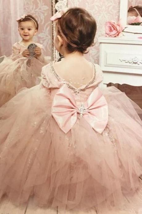 Lovely Blush Pink Long Sleeve Flower Girl Dresses for Wedding Sparkly Sequin Crystals Ruffles Tulle Bow 2019Girls Pageant Dress