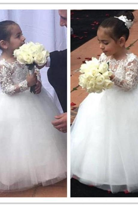Lovely Cheap Flower Girls Dresses Jewel Neck Lace Appliques Long Sleeves Tulle Birthday Dresses First Communion Girls Pageant Gowns