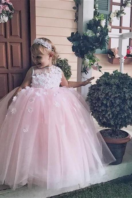 Baby Pink Ball Gown Flower Girls Dresses Sheer Neck Appliques Girls Pageant Dress Tulle Lovely Kids Party Dress Formal Wear