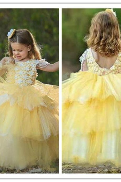 Handmade Flower Floral Flower Girls Dresses Tiered Girls Party Toddler Pageant Baby Birthday Gowns Kids Formal Wear First Communion Dress