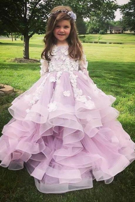 2020 Ruffles Flower Girl Dresses Long Sleeves Appliques Long Formal Kids Party Gowns A Line Pageant Dress