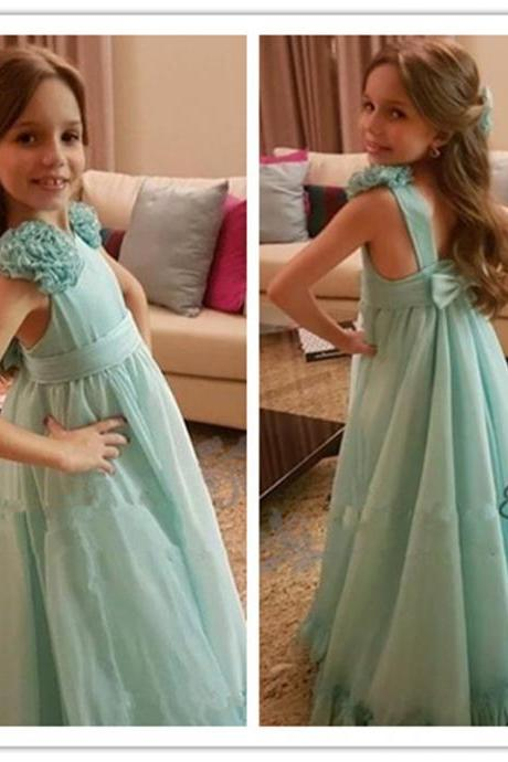 2019 boho Floor-length A-line chiffon Flower Girl Dresses for wedding handmade flowers bow Kids Communion Dress beach Birthday Wear Gowns