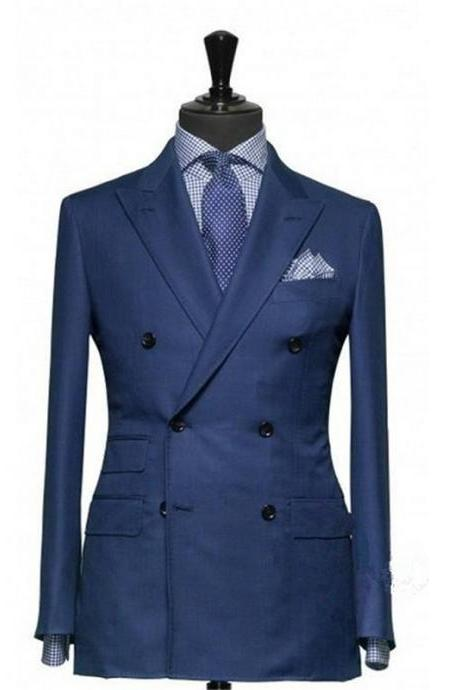 Blue Suit Groom Tuxedos Double-Breasted Peaked Lapel Blazer Business Suits Groomsmen Men Wedding Suit (Jacket+Pants)
