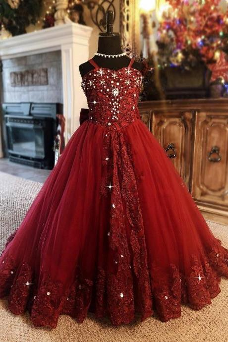 Red Ball Gown Flower Girl Dress Spaghetti Rhinestone Applique Wedding Party Tulle Lace Sleeveless Floor Length Princess Girl Dress
