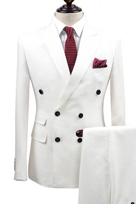 Slim Fit White Men Suits Wedding Groom Wear Tuxedos 2 Pieces (Jacket+Pants) Bridegroom Suits Best Man Prom Business Wear Blazer