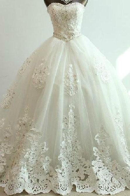 Sweetheart Beaded Lace Princess Wedding Ball Gown Featuring Lace-Up Back and Chapel Train