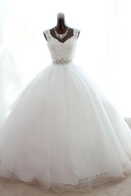 Crystal Long Ball Gown Simple Lace Bridal Wedding Dresses Formal Floor Length Beading Applique ll336