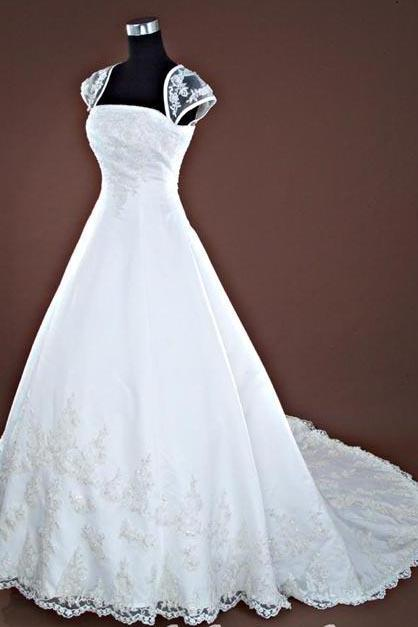 Cap Sleeve Long Ball Gown Simple Lace Bridal Wedding Dresses Formal Floor Length Beading Applique ll338