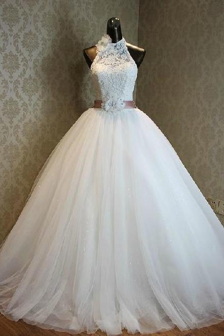 Halter Sleeveless Ruched Lace Princess Ball Wedding Gown Featuring Lace-Up Back and Bow Accent
