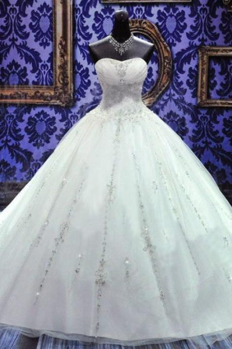 Pageant Applique Sweetheart Long Ball Gown Lace Bridal Wedding Dresses Formal Floor Length c14