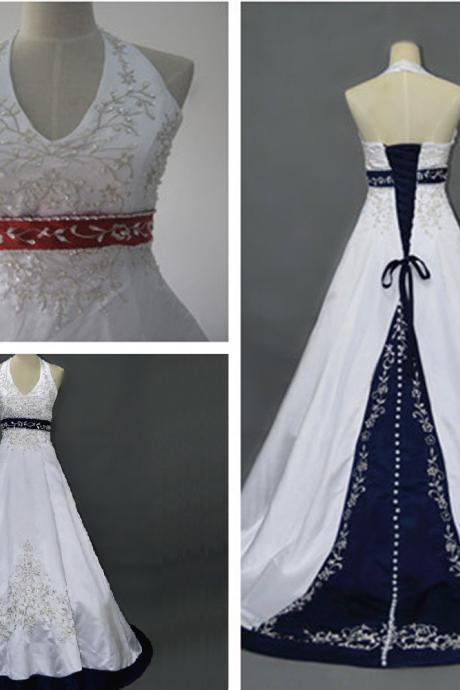Formal Embroidery Halter Satin Long Ball Gown Bridal Wedding Dresses Formal Floor Length c25