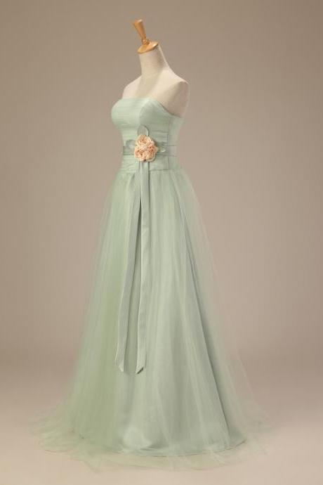Bridesmaid Dress Light Green Long Evening Dress Prom Dress Custom Made A Line Bridal Party Dress c32
