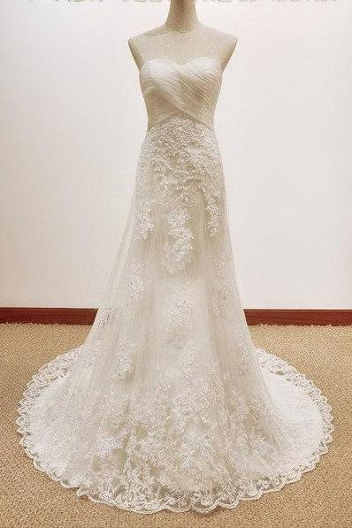 New Fashion Formal Applique A Line Sweetheart Long Lace Bridal Wedding Dresses Formal Floor Length ws600