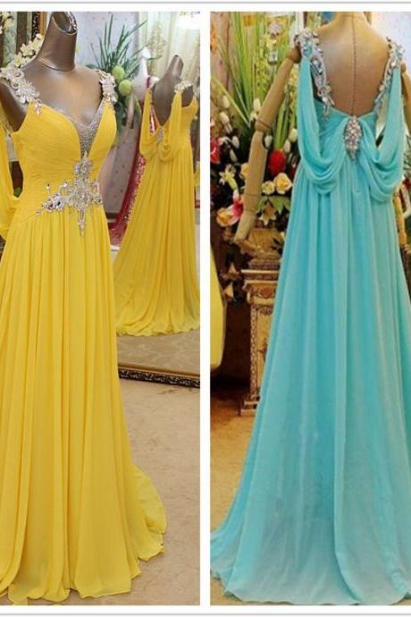 V Neck Chiffon Long Evening Dress Prom Dress Custom Made Sequin Crystal Bridal Party Dress w502
