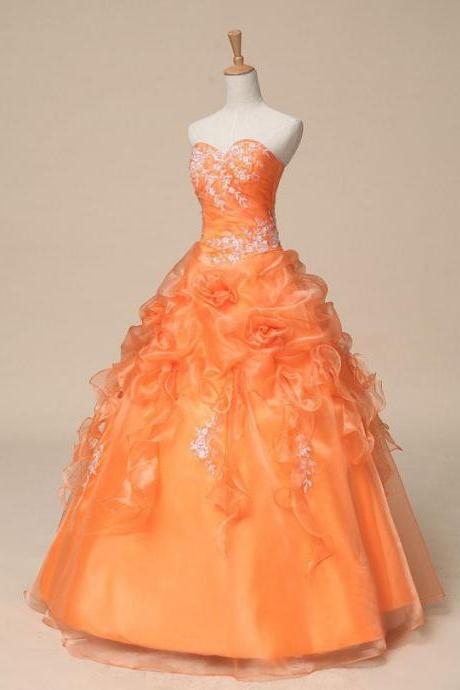 Lace Applique Orange Ball Gown Quinceanera Dress Long Evening Dress Prom Dress Custom Made Bridal Party Dress w515