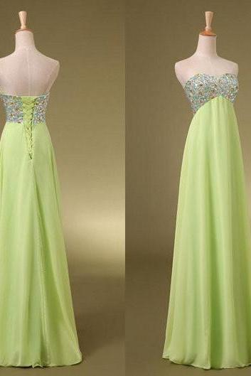 Backless Crystal Chiffon Bridesmaid Dress Long Evening Dress Prom Dress Custom Made Bridal Party Dress w521