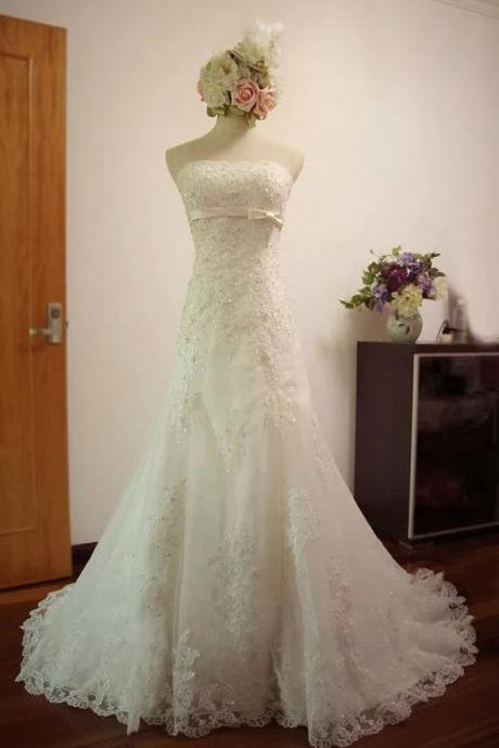 Formal Applique Mermaid Long A Line Lace Bridal Wedding Dresses Formal Floor Length w565a