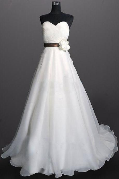 Formal Organza Simple Long A Line Bridal Wedding Dresses Formal Floor Length w570