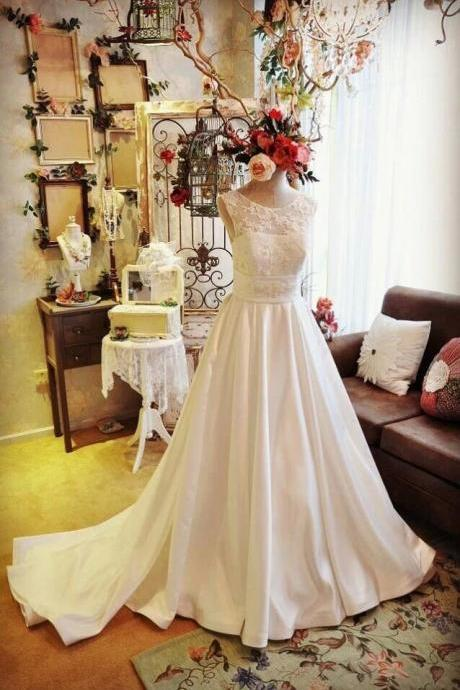 Formal Beading Crew Fashion Long Train Ball Gown Satin Lace Bridal Wedding Dresses Formal Floor Length w594