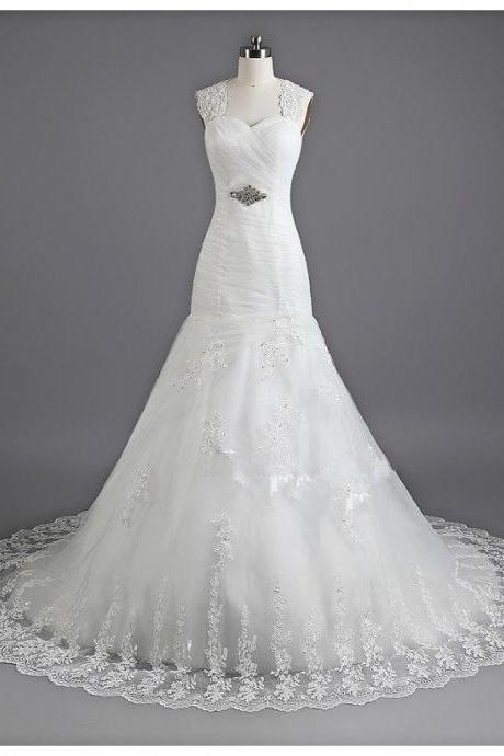 A Line Formal Beading Sweetheart Long Train Lace Custom Made Bridal Wedding Dresses Formal Floor Length xz02