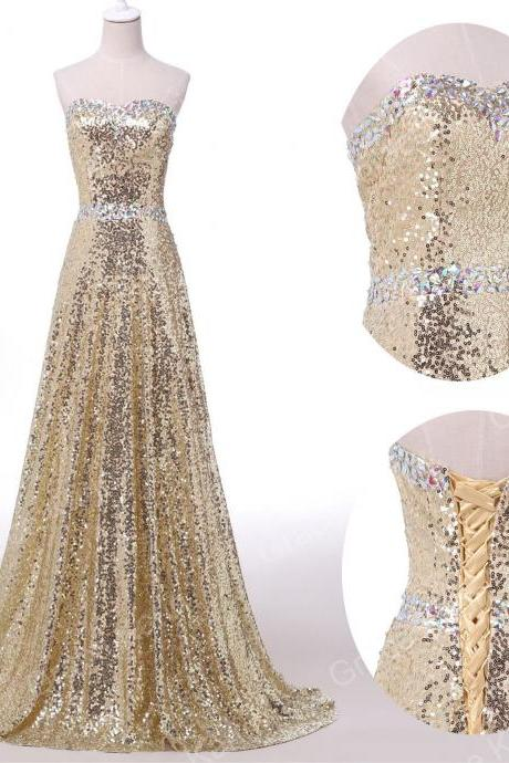 Bridesmaid Dress Sweetheart Sequin Crystal Beading Evening Dress Prom Dress Custom Made Bridal Party Dress xz51