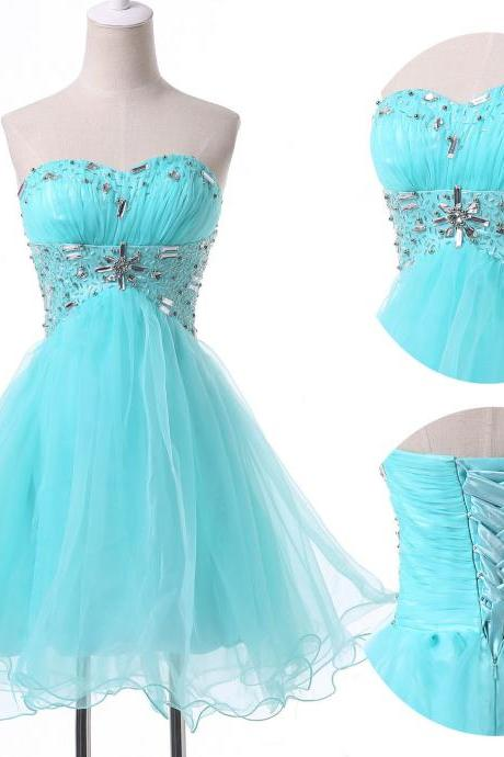 Crystal Embellished Ruched Sweetheart Short Tulle Homecoming Dress Featuring Lace-Up Back
