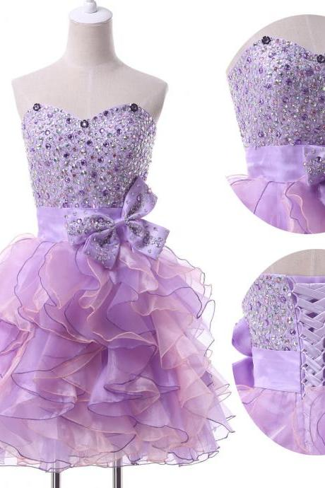 Sweetheart Homecoming Dress Ruffle Short Mini Sexy Crystal Evening Dress Prom Dress Custom Made Bridal Party Dress xz102