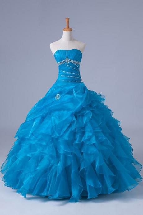 Blue Quinceanera Dress Organza Beading Ruffle Ball Gown Evening Dress Prom Dress Custom Made Bridal Party Dress b01