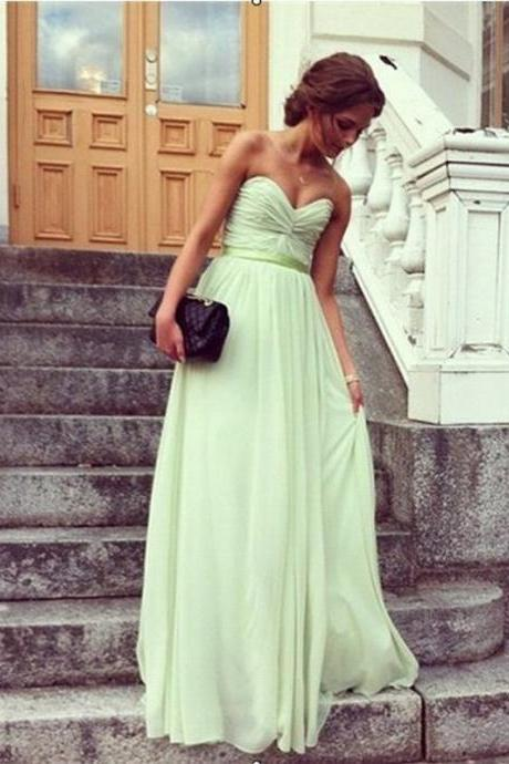 Bridesmaid Dress Sweetheart Chiffon Simple Evening Dress Prom Dress Custom Made Bridal Party Dress b12