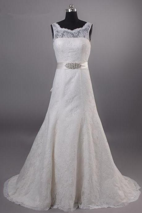 Sheer Illusion Sleeveless A-line Lace Wedding Dress Featuring Bow Accent