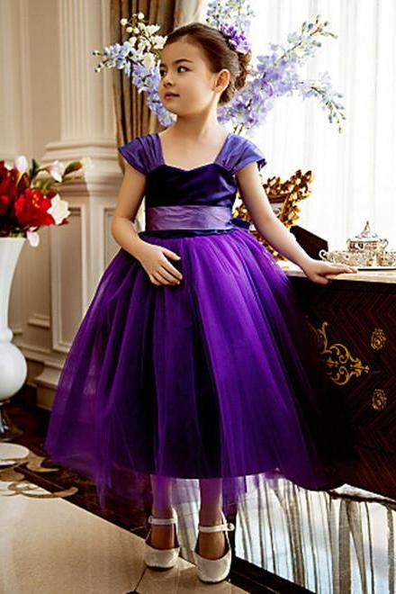 Formal Purple Flower Girl Dresses Tea Length Tulle Ball Gown Kids Wedding Party Dresses 0425-01