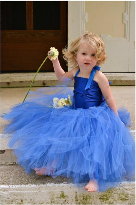 Halter Formal Simple Flower Girl Dresses Long Tulle Ball Gown Kids Wedding Party Dresses 0425-10