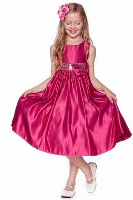 Formal Simple Flower Girl Dresses Satin New Kids Wedding Party Dresses For Children 0425-27