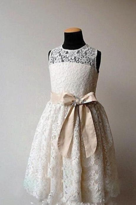 Formal Tea Length Flower Girl Dresses Children Birthday Dress Lace Kids Wedding Party Dresses fg13