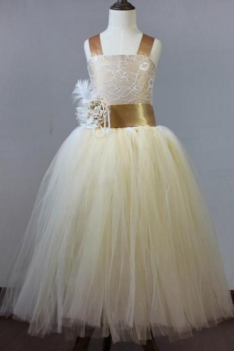 Champagne Floor Length Flower Girl Dresses Children Birthday Dress Lace Kids Wedding Party Dresses WLJ05