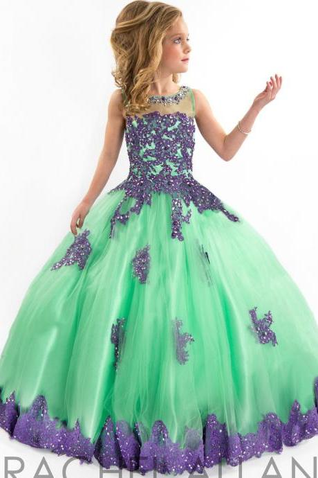 Purple Lace New Fashion Floor Length Ball Gown Flower Girl Dresses Children Birthday Dress Kids Wedding Party Dresses WLJ14