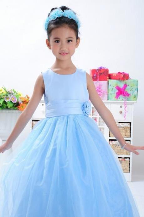 Long Flower Girl Dresses Children Birthday Dress Tulle Kids Wedding Party Dresses WLJ45