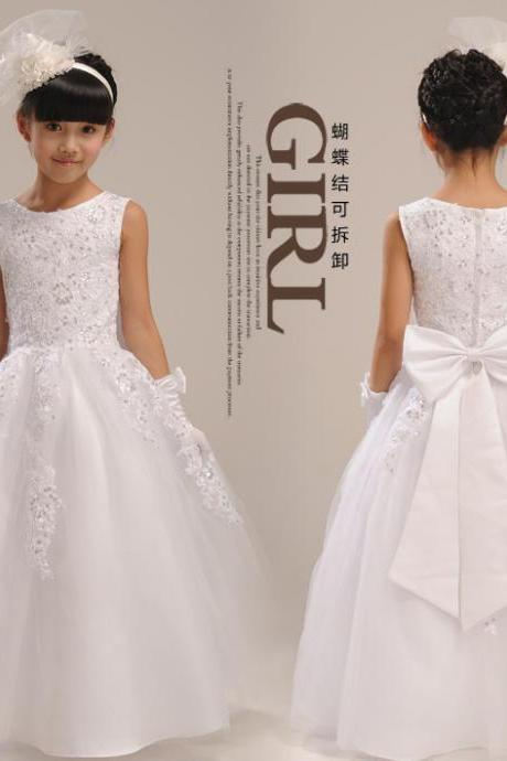 New Fashion Floor Length Flower Girl Dresses Children Birthday Dress Lace Applique Beading Kids Wedding Party Dresses WLJ56