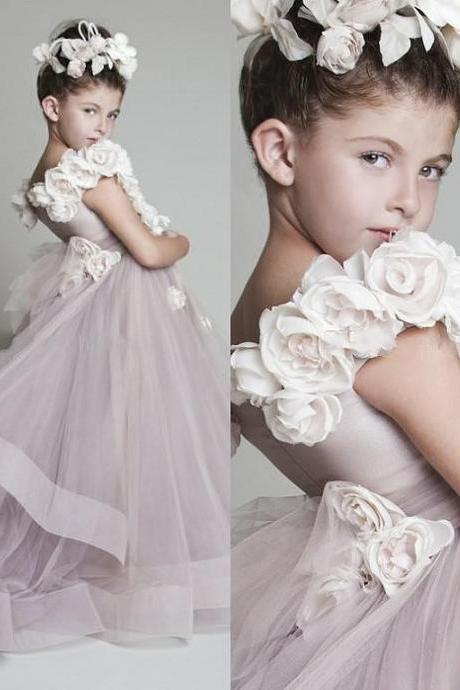 New Fashion Floor Length Flower Girl Dresses Children Birthday Dress Tulle Kids Wedding Party Dresses WLJ147