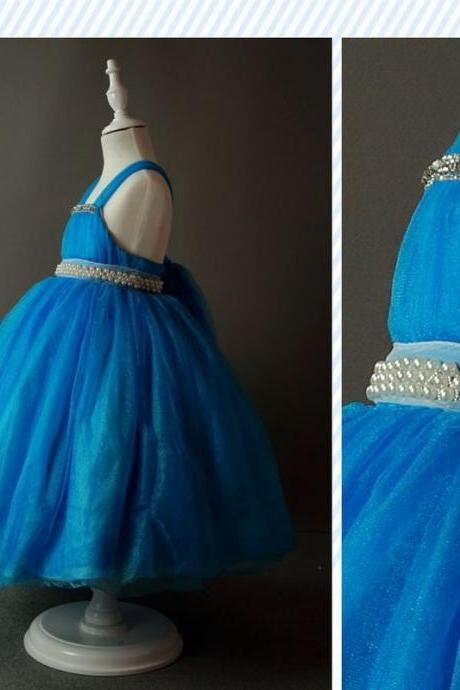 Blue Tea Length Flower Girl Dresses Children Birthday Dress Tulle Kids Wedding Party Dresses 1025-35