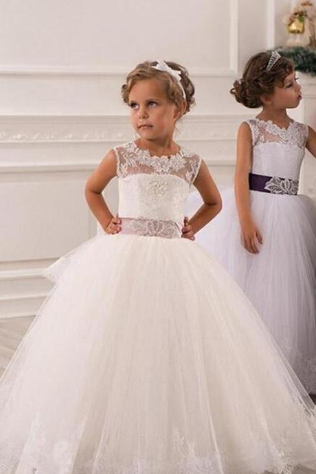 Ball Gown Floor Length Flower Girl Dresses Children Birthday Dress Fashion Lace Tulle Kids Wedding Party Dresses 1028-04