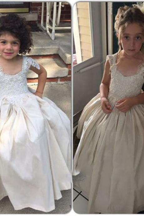 Floor Length Ball Gown Flower Girl Dresses Children Birthday Dress Cap Sleeve Lace Kids Wedding Party Dresses 1028-92