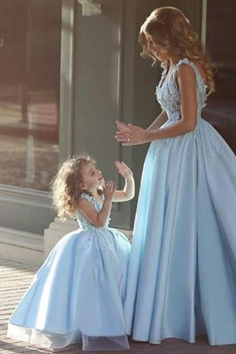 Blue Floor Length Flower Girl Dresses Children Birthday Dress Lace Kids Wedding Party Dresses 1028-97