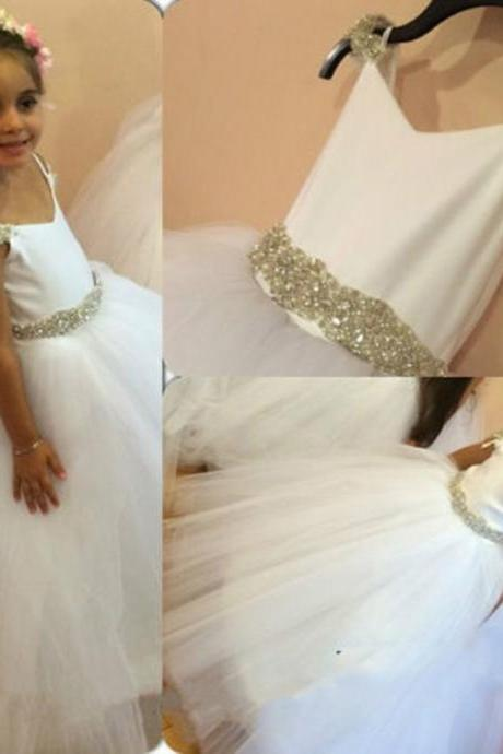 Floor Length Flower Girl Dresses Children Birthday Dress Beading Tulle Kids Wedding Party Dresses 1029-fg1