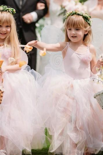 Ankle Length Flower Girl Dresses Children Birthday Dress Tulle Spaghetti Strap Kids Wedding Party Dresses 0701-08