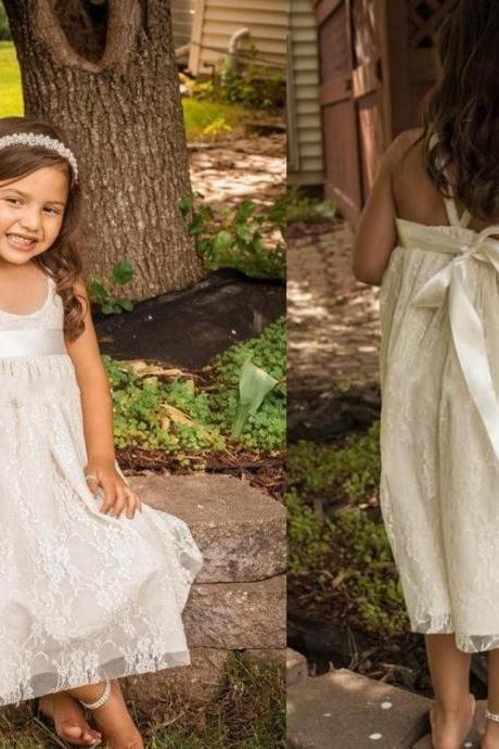 Tea Length Flower Girl Dresses Children Birthday Dress Lace Kids Wedding Party Dresses 0701-33