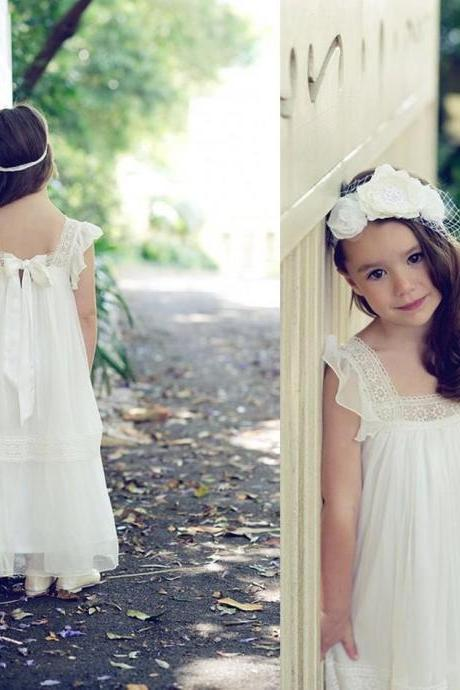 Ankle Length Flower Girl Dresses Children Birthday Dress Lace Chiffon Cute Kids Wedding Party Dresses 0701-37