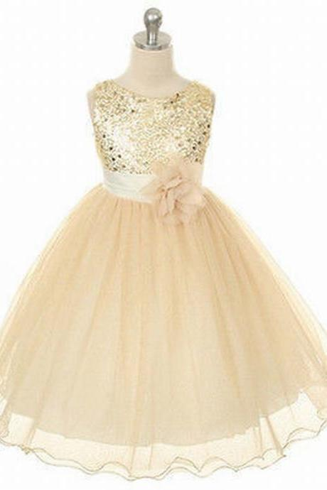 Flower Girl Dresses Children Birthday Dress Sequin Lace Wedding Party Dresses ww01